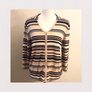 Striped Zip-Up Collared Cardigan/Sweater | S